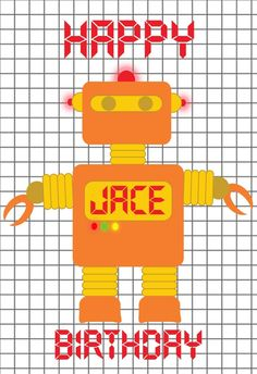 World of Pinatas - Robot Orange Personalized Poster, $16.99 (http://www.worldofpinatas.com/robot-orange-personalized-poster/)
