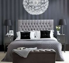 For a more formal feel this grey pinstriped wallpaper is great. Note- great chandelier- Ikea under $200