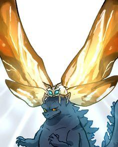 Mothra and Godzilla Godzilla, She Was His Queen, Cultura Pop, King Kong, Kingdom Hearts, Mythical Creatures, Anime Couples, Mythology, Fantasy Art