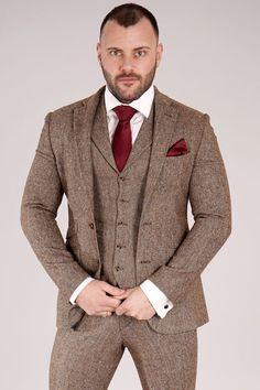 brown tweed 1 Brown Tweed Suit, Tweed Suits, Wedding Suit Hire, Fitted Suit, Suit Jacket, Slim, Jackets, Fashion, Down Jackets