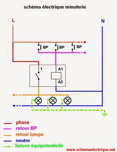 - schémaelectrique minuterie unipolaire  - branchement et installation d'une minuterie a 3 fils -câblage et raccordement les diffé...