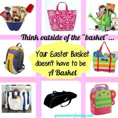 This has great ideas for boys/girls Easter gifts that doesn't have to use the traditional basket.