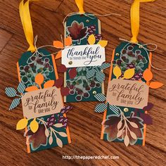 Gift of Fall Paper Pumpkin Alternative Projects - August 2019 Paper Pumpkin Kit by Stampin' Up! - The Papered Chef Fall Paper Crafts, Stampin Up Paper Pumpkin, Pumpkin Cards, Handmade Gift Tags, Fall Gifts, Wine Tags, Fall Projects, Pillow Box, Fall Cards
