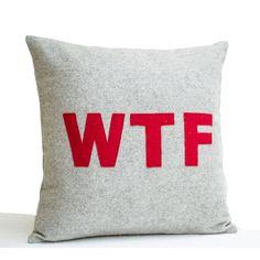 Decorative Pillow Grey Red Felt Pillows Felt Applique Pillow Word... (4,125 INR) via Polyvore featuring home, home decor, throw pillows, home décor, decorative pillows, home & living, silver, grey accent pillows, gray throw pillows and quote throw pillows