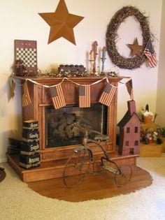 Americana mantle Rustic Chic Decor, Prim Decor, Country Decor, Primitive Fireplace, Faux Fireplace, Fireplaces, Americana Home Decor, Seasonal Decor, Holiday Decor