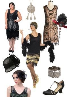 1920s Speakeasy style fashion for women. Find more inspiration for a Speakeasy party theme at http://sparklerparties.com/speakeasy/