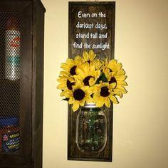Inspirational Sunflower Decor by YvettesDecor on Etsy | mason jar | wall decor | sunflower quote | sunflower sign