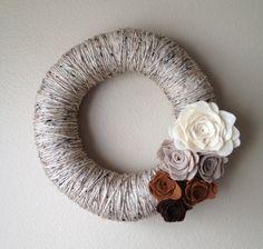 Yarn Wreath Handmade Felt Decoration 12 inch by jspooner08 on Etsy, $17.00