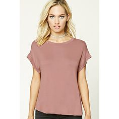 Forever21 Boxy Scoop Neck Tee ($13) ❤ liked on Polyvore featuring tops, t-shirts, mauve, short sleeve tops, dolman-sleeve top, scoop neck t shirt, scoop neck tee and short tops