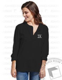 Sigma Kappa - Letter Henley (Black) by ABD BlockBuy! Adam Block Design | Custom Greek Apparel & Sorority Clothes |www.adamblockdesign.com