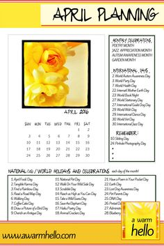 Are You Ready for APRIL? Come Download this Page for Your Planner and Make Sure You Know About the Great Celebrations Going on this Month!