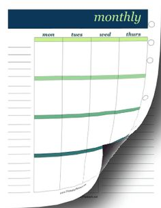 Green and blue headers along with italicized fonts make this two-page monthly planner elegant. Free to download and print