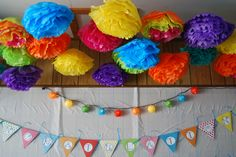 Use fishing line to hang Multicolor Tissue Paper Flowers hanging from ceiling. High School Senior Quotes, Tissue Paper Flowers, Grad Parties, Having A Blast, Graduation Ideas, Festival Party, Picture Ideas, Fishing, Party Ideas