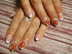 Katya-Nails Gelnägel mit Bilder Sticker  - Orange