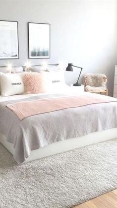 60 Minimalist But Beautiful White Bedroom Design Ideas. White bedroom sets look the most elegant for a room. Bedroom Decor For Teen Girls, Room Ideas Bedroom, Small Room Bedroom, Home Decor Bedroom, White Bedroom Set, White Bedroom Design, Girl Bedroom Designs, Small Apartment Bedrooms, White Home Decor
