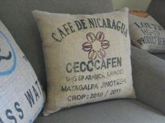 I have a burlap coffee bag I was thinking about changing into a Pillow like this but may use it for the coffee table if turning into an Ottoman.