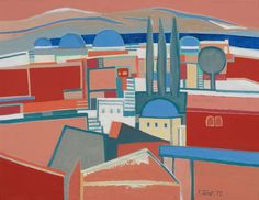 FRANÇOISE GILOT Keleti város I. | Oriental City I. 1977 – 50x66 cm olaj, vászon | oil on canvas  Várfok Galéria, Budapest