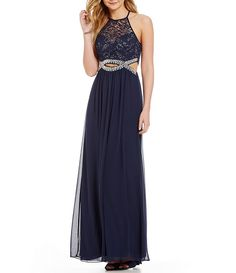 B. Darlin High Neck Illusion-Yoke Lace Bodice Cutout Infinity Beaded Waist Open Back Long Dress
