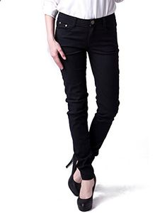 HDE Women's Low Rise Stretch Fit Pencil Jeggings Skinny Jean Pants Black, Large  Go to the website to read more description.