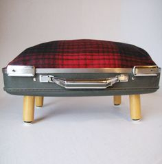 Love the idea of refurbing a vintage suitcase into an elevated dog bed