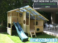 This roof line provides protection from all elements- shade in Summer and shelter in Winter..... That means fun outside play all year round! #MyCubby #CubbyHouse #CubbyLayby #AussieCubbies #CubbyPlay #OutsidePlay #ChristmasLayby #Layby #christmasideas #InterestFree #Cubbies