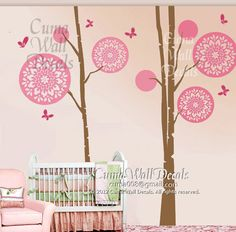 nursery Wall decals tree wall decals Nursery girl vinyl wall decal childen nature wall mural -  floral tree butterfly Z159 cuma
