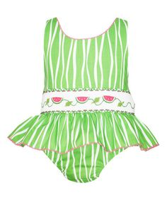 Green Watermelon Smocked Sunsuit - Infant & Toddler #zulilyfinds