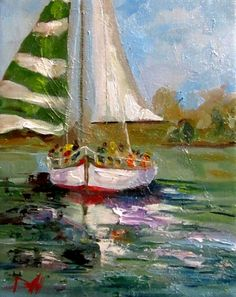 ღღ  Christmas Sail Boats, original painting by artist Delilah Smith | DailyPainters.com