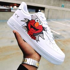 Kaws Elmo 🔴🔥 ▫Dropping on our website January ▫ Tag a friend that would rock these! Custom Painted Shoes, Custom Shoes, Hype Shoes, On Shoes, Vans Shoes Fashion, Nike Shoes Air Force, White Nike Shoes, Aesthetic Shoes, Fresh Shoes
