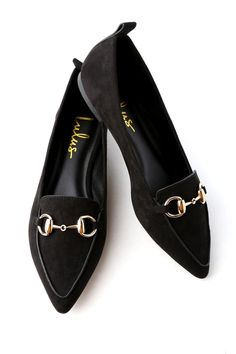 Lulus Exclusive! Slip into the Charlotte Black Suede Loafers and feel good from head to toe! These classy, soft vegan suede loafers have a pointed toe upper, and a low-cut, notched collar. Shiny gold hardware adds the finishing touch.