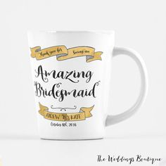 Bridesmaid mug, customized latte mug, thank you gift