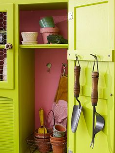 diy potting bench made from an old armoire