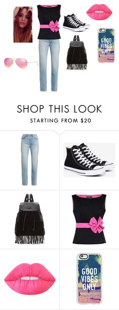 """""""Black and Pink"""" by believe772 ❤ liked on Polyvore featuring Yves Saint Laurent, Converse, Glamorous, Boutique Moschino, Lime Crime, Casetify and Ray-Ban"""