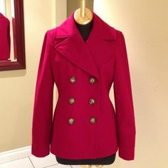 Michael Kors Red Coat Host Pick 2X  Very Pretty Jacket was worn only once for like 30 min. It's in really good shape! It has MK buttons and comes with an extra button. Price reflects that this item is being sold as is no returns. Very nicely made and will give you a flattering figure!  Love it for all year around or as a gift!!! Michael Kors Jackets & Coats