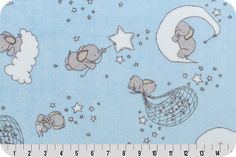 Blue is for boys. and babies too. Dream Big Cuddle® Baby Blue This soft and plush Cuddle print features whimsical sleepy baby elephants in Steel, Platinum and Ash on clouds and moons of Snow cascading across a Baby Blue background. Just Imagine by Carrie Tomaschko, a Sweet Melody Cuddle Collection for Shannon Fabrics. don't you love the star balloons?