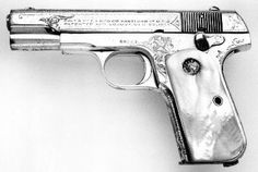 Colt Model 1908 Pocket Hammerless ACP (Model M) with mother-of-pearl grips, silver plated.its a little girly.