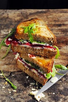Roquefort, beet and arugula sandwich