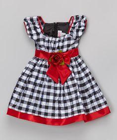 Red Plaid Puff-Sleeve Dress - Infant, Toddler & Girls by Cinderella Couture #zulily #zulilyfinds