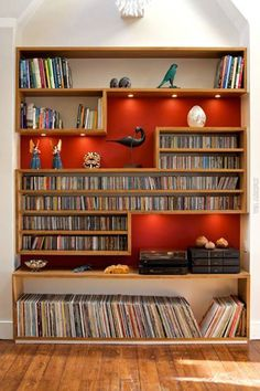 Still has some books...I like the storage for CDs and vinyl, too.