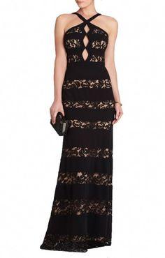 0e39d02101b BCBG Max Azria Katrina Halter-Neck Black Cutout Gown