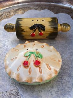 Cherryville. Vintage Cherry pie and rolling pin- salt and pepper shaker set. JAPAN. on Etsy, $16.00