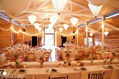 Twinkle lights around the hall - fire seed catering and venue on Whidbey Island