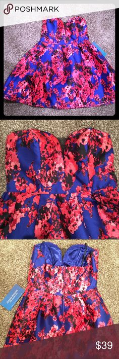 💙 B. Darlin Strapless Floral Cocktail Dress 💙 Gorgeous blue and pink floral strapless cocktail dress by B. Darlin.  Small black mesh inset in pretty sweetheart neckline.  Perfect for prom, weddings, parties, etc!  Size 13/14.  New with tags! B. Darlin Dresses Strapless