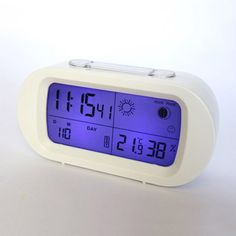 White LED snooze alarm clock with backlight calendar weather station modern digital clock White Lead, Digital Alarm Clock, Calendar, Weather, Led, Modern, Trendy Tree, Life Planner, Weather Crafts