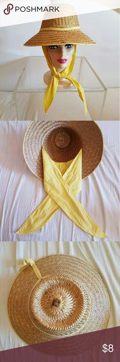 1960s Vintage Yellow Straw Beach or Sun Hat Vintage yellow 58014c25951