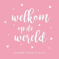 #roze #lief #simpel #hipdesign #meisje #geboortekaartje #hartjes