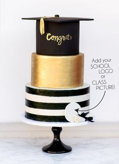 Graduation Three Tier Cake Shared by Career Path Design Graduation Desserts, College Graduation Parties, Graduation Cupcakes, Graduation Celebration, Graduation Party Decor, High School Graduation, Graduation Invitations, Grad Parties, Graduation Ideas