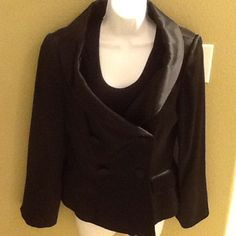 Sophie Sitbon Paris black dressy jacket Gently worn size 42 fits like a size L sleeves are 24 inches from top of shoulder to bottom , rayon , acetate , padded shoulders , made in France Sophie Sitbon Paris  Jackets & Coats