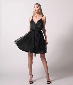 Κρουαζέ Φόρεμα Κοντό Lurex - Μαύρο Spring Summer, Formal Dresses, Black, Fashion, Outfits, Party, Dresses For Formal, Moda, Black People