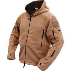 Men Tactical Military Fleece Hooded Outdoor Jacket for Winter